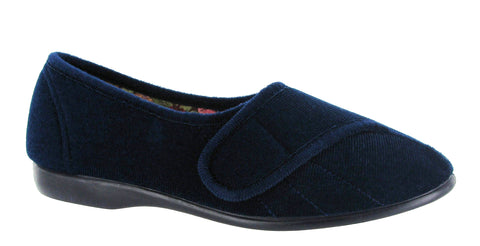 GBS Audrey Womens Touch Fastening Full Slipper Navy