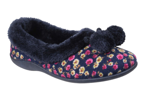 Mirak Bayeux Ladies Pom Pom Detail Full Slipper Blue Floral