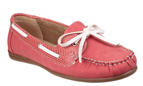 Divaz Belgravia Womens Slip On Boat Shoe Red