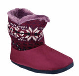 Mirak Bergen Womens Warm Lined Bootee Slipper Burgundy