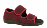 GBS Brompton Mens Extra Wide Fit Open Toe Touch Fastening Slipper Burgundy
