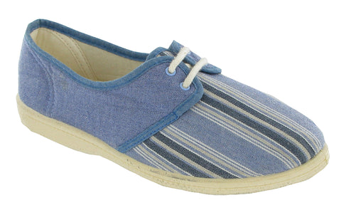 Mirak Camilla Womens Stripey Lace Up Canvas Casual Shoe