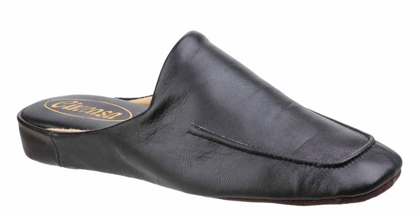 Cincasa Carlos Mens Leather Mule Slipper Black