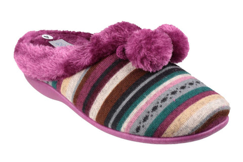 Mirak Chabilis Womens Mule Slipper With Pom Pom Trim Heather