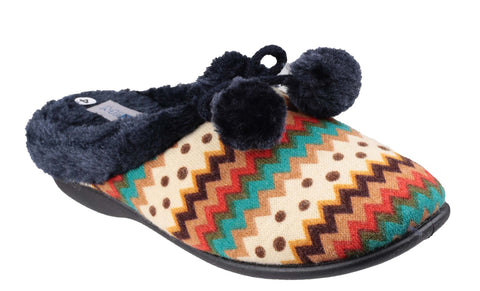 Mirak Chabilis Womens Mule Slipper With Pom Pom Trim
