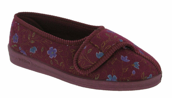 Comfylux Diana Womens Wide Fit Touch Fastening Full Slipper Wine