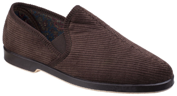 GBS Exeter Mens Full Slipper Brown