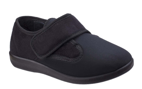 GBS Frenchay Womens Wide Fit Touch Fastening Slipper Black
