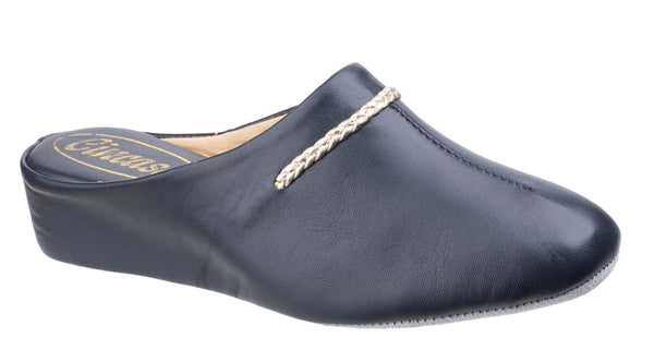 Cincasa Galdana Womens Leather Mule Slipper Navy