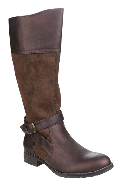 Divaz Garbo Womens Two-Tone Long Leg Dress Boot Brown