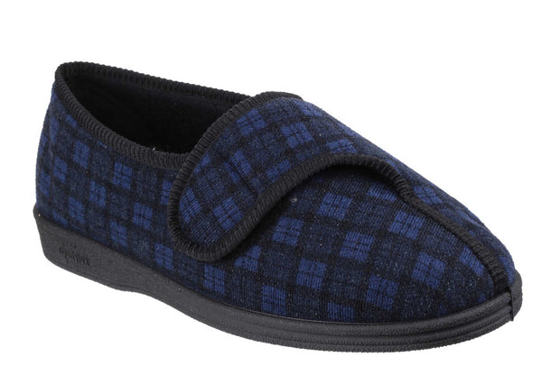 Comfylux George Mens Touch Fastening Full Slipper Navy