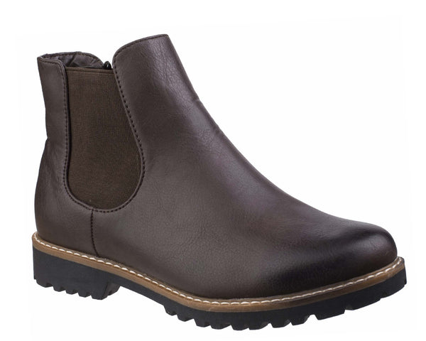 Divaz Grace Womens Pull On Chelsea Style Casual Ankle Boot Brown
