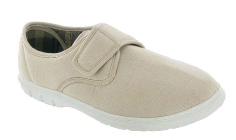 Mirak Harvey Mens Casual Touch Fastening Canvas Shoe Beige