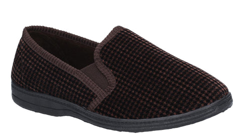 Mirak Highbury Mens Velour Full Slipper Brown