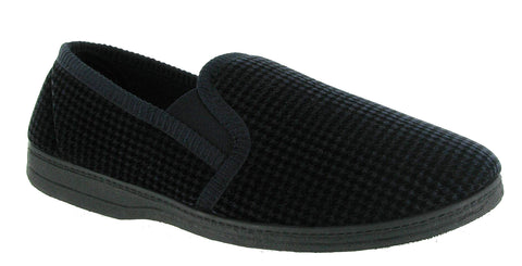 Mirak Highbury Mens Velour Full Slipper Navy