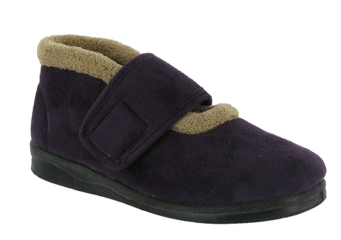 Mirak Jeane Womens Wide Fit Touch Fastening Bootee Slipper Purple
