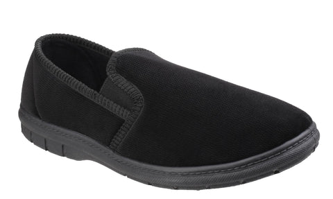 Fleet & Foster John Mens Full Velour Slipper Black
