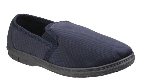 Fleet & Foster John Mens Full Velour Slipper Navy