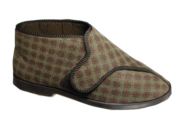 GBS Keswick Mens Touch Fastening Slipper Boot Brown