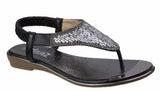 Divaz Kirsty Womens Glitzy Toe Post Slip On Summer Sandal Black