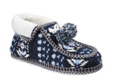 Divaz Lapland Womens Warm Lined Knitted Bootee Slipper Blue