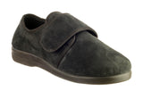GBS Lewisham Womens Wide Fit Touch Fastening Full Slipper Black