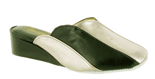Cincasa Madeira Womens Wedge Heeled Mule Slipper Black/Pewter