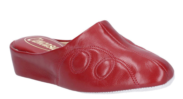 Cincasa Mahon Womens Leather Mule Slipper Red