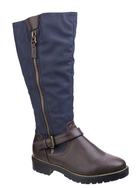 Divaz Manson Womens Long Leg Casual Boot Brown/Blue