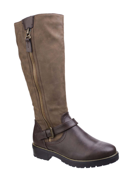 Divaz Manson Womens Long Leg Casual Boot Brown