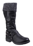 Divaz Monroe Womens Knitted Cuff Detail 3/4 Length Casual Boot Black