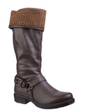 Divaz Monroe Womens Knitted Cuff Detail 3/4 Length Casual Boot Brown