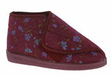 Comfylux Mull Womens Wide Fit Touch Fastening Bootee Slipper Wine