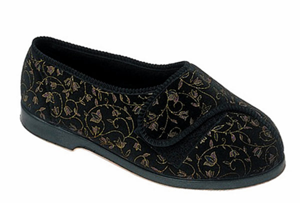 GBS Nola Womens Extra Wide Fit Touch Fastening Slipper Black
