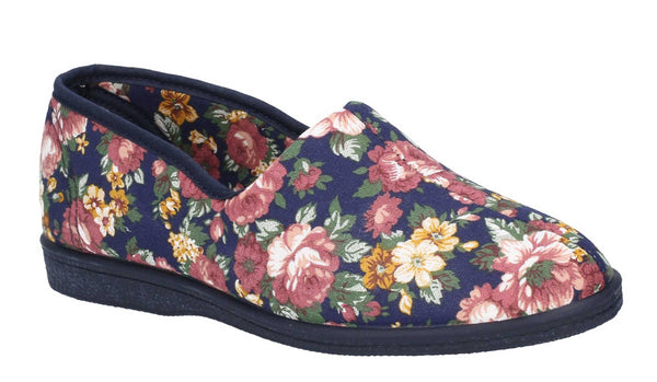 Mirak Patricia Womens Floral Print Slip On Canvas Slipper Blue