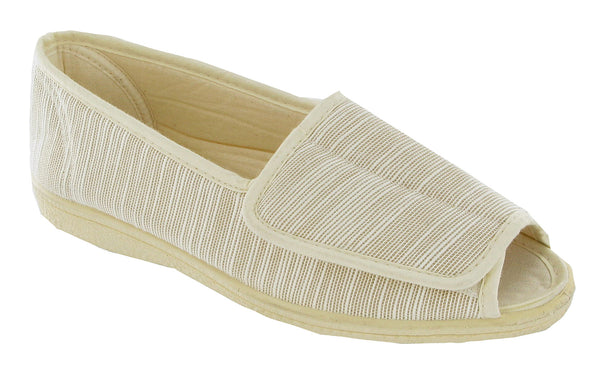 Mirak Quimper Womens Open Toe Touch Fastening Canvas Shoe Beige