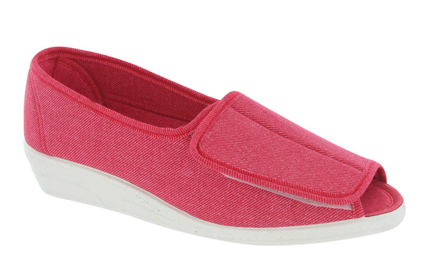 Mirak Quimper Womens Open Toe Touch Fastening Canvas Shoe Red