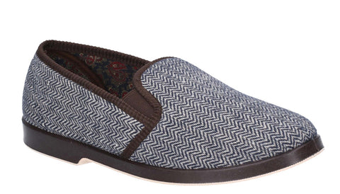 GBS Stafford Mens Full Slipper Brown