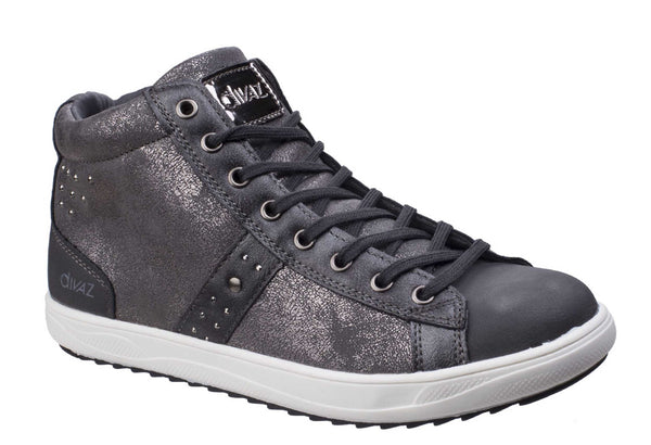 Divaz Steffy Womens Retro Styled High Top Lace Up Trainer Grey