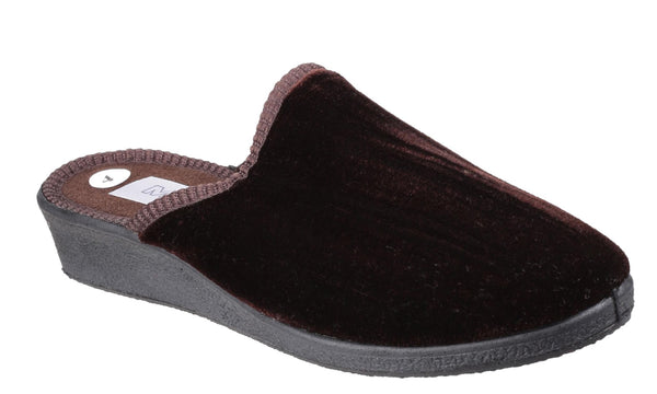 Mirak Suzy Womens Wedge Heeled Mule Slipper Brown