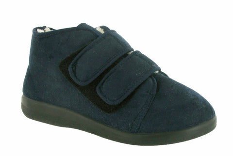 GBS Torbay Mens Extra Wide Warm Lined Touch Fastening Slipper Bootee Navy