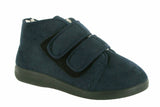 GBS Torbay Womens Extra Wide Warm Lined Touch Fastening Slipper Bootee Navy