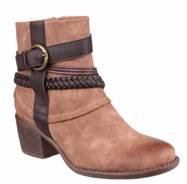 Divaz Vado Womens Strap And Buckle Detail Ankle Boot Tan