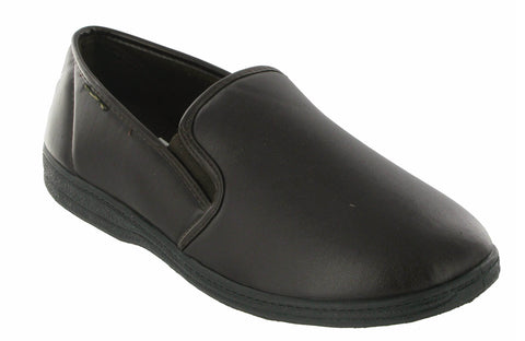 Mirak Visa Mens Faux Leather Slip On Full Slipper Brown