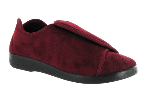 GBS Walton Mens Wide Fit Touch Fastening Full Slipper Burgundy