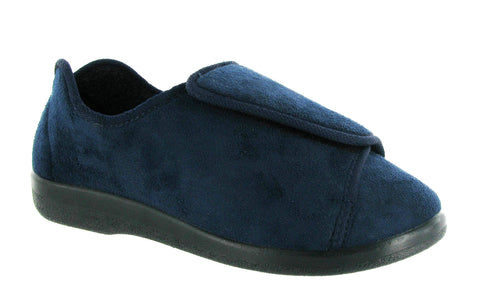 GBS Walton Mens Wide Fit Touch Fastening Full Slipper Navy