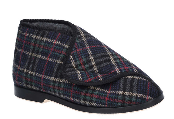 GBS William Mens Warm Lined Touch Fastening Slipper Bootee Check