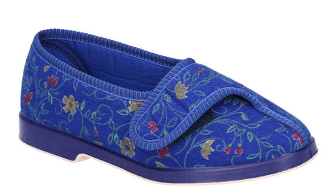 GBS Wilma Womens Wide Fit Touch Fastening Full Slipper Navy