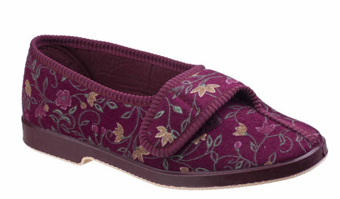 GBS Wilma Womens Wide Fit Touch Fastening Full Slipper Wine