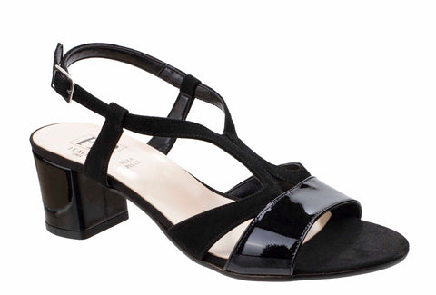 HB Evelyn B741 Womens Strappy Blocked Heeled Dress Sandal Black P/S